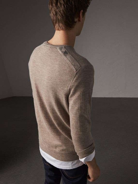 Check Jacquard Detail Cashmere Sweater in Camel Melange