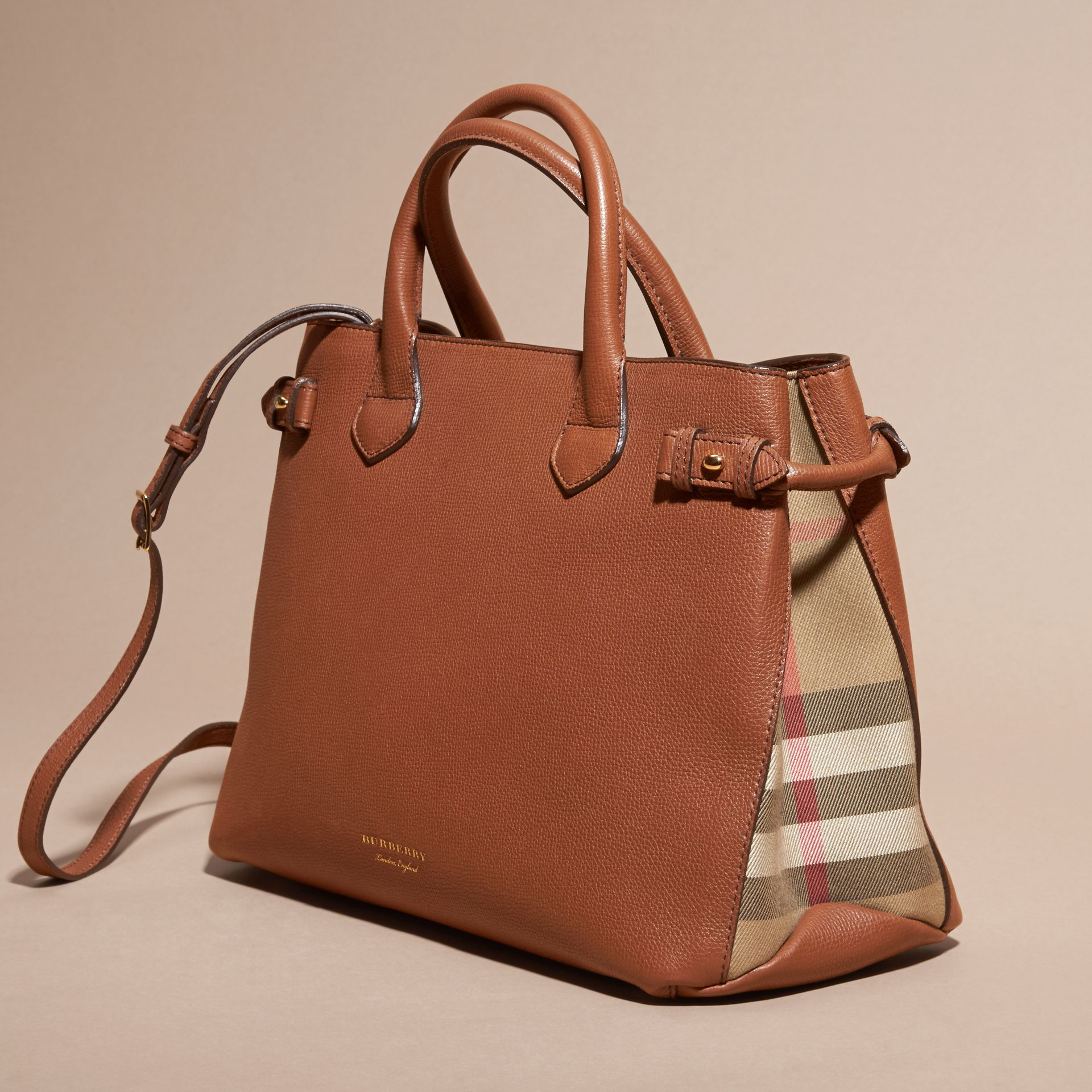 The Medium Banner in Leather and House Check in Tan - Women | Burberry - gallery image 7