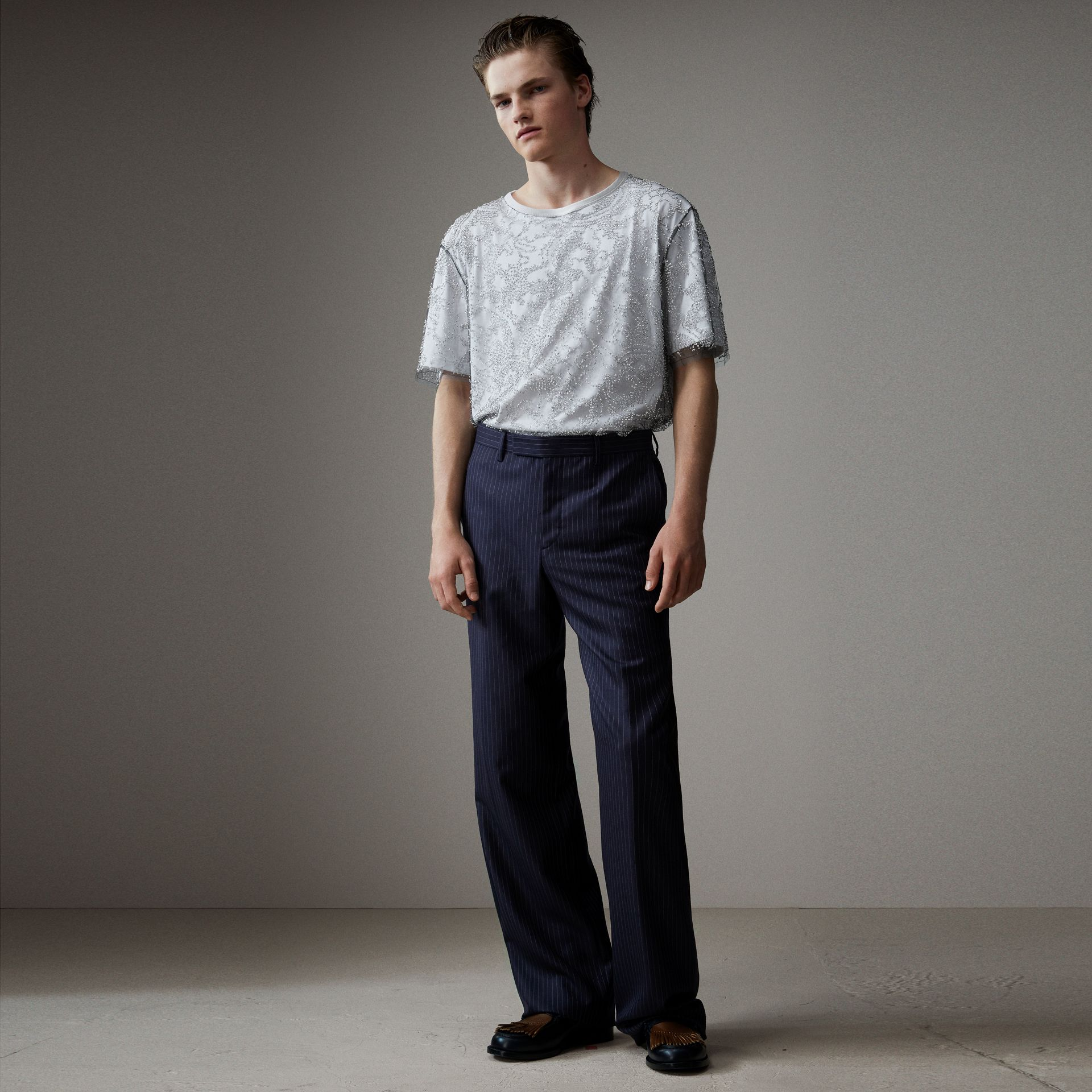 English Pinstripe Wool Wide-leg Trousers in Navy/white - Men | Burberry United States - gallery image 0