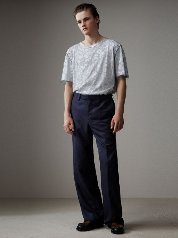 English Pinstripe Wool Wide-leg Trousers in Navy/white