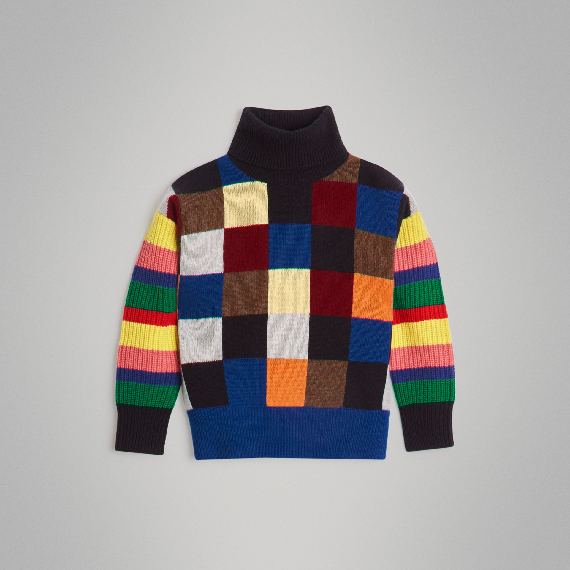 Patchwork Cashmere Roll-neck Sweater in Multicolour | Burberry Singapore - gallery image 0