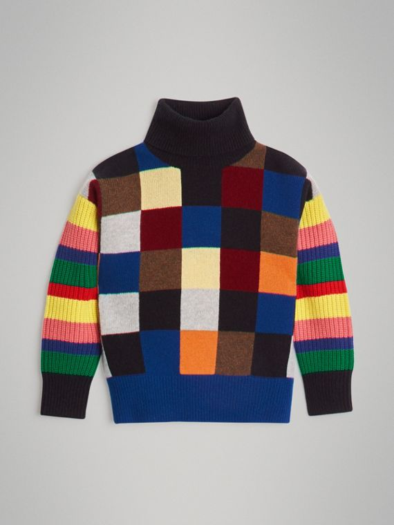 Patchwork Cashmere Roll-neck Sweater in Multicolour