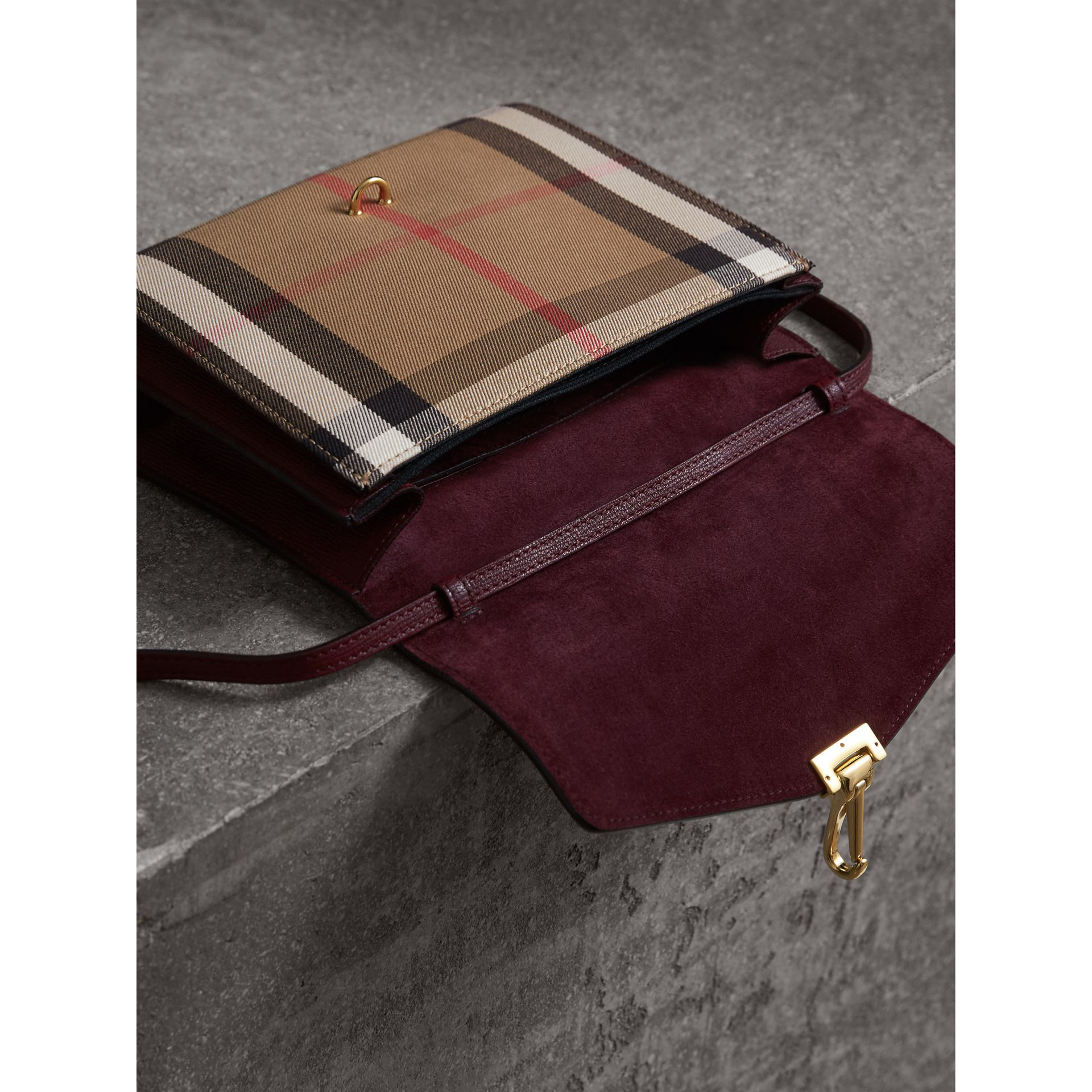 Small Leather and House Check Crossbody Bag in Mahogany Red - Women | Burberry Australia - gallery image 5