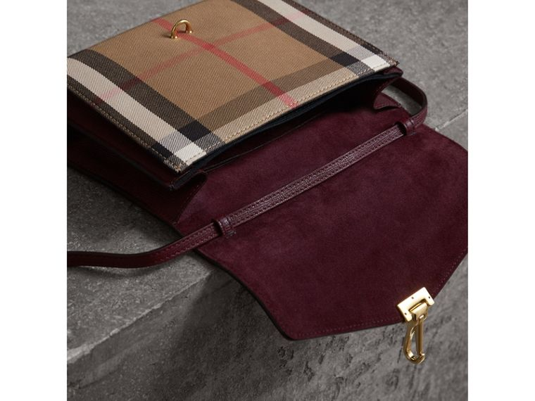 Small Leather and House Check Crossbody Bag in Mahogany Red - Women | Burberry - cell image 4