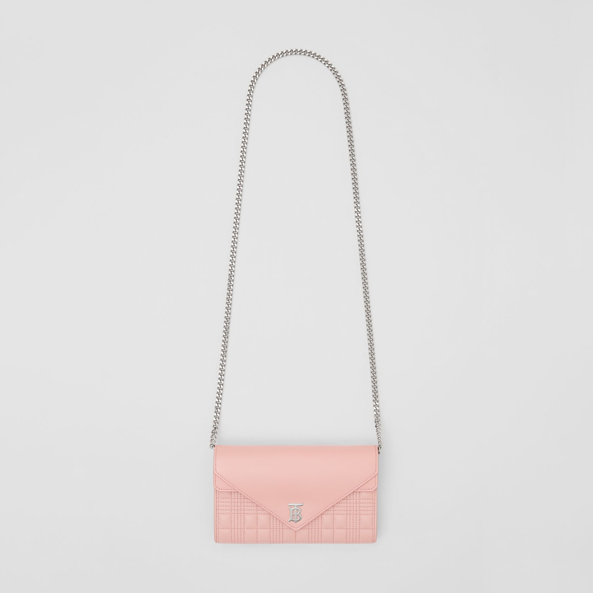 Quilted Lambskin Wallet with Detachable Chain Strap in Blush Pink - Women | Burberry - gallery image 3