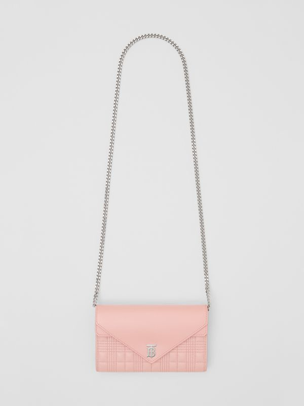 Quilted Lambskin Wallet with Detachable Chain Strap in Blush Pink - Women | Burberry - cell image 3