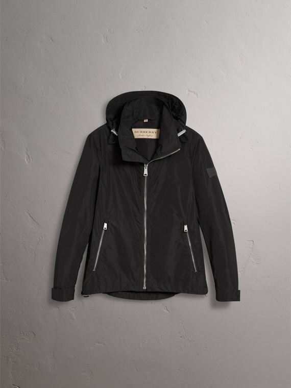 Packaway Hood Showerproof Jacket in Black