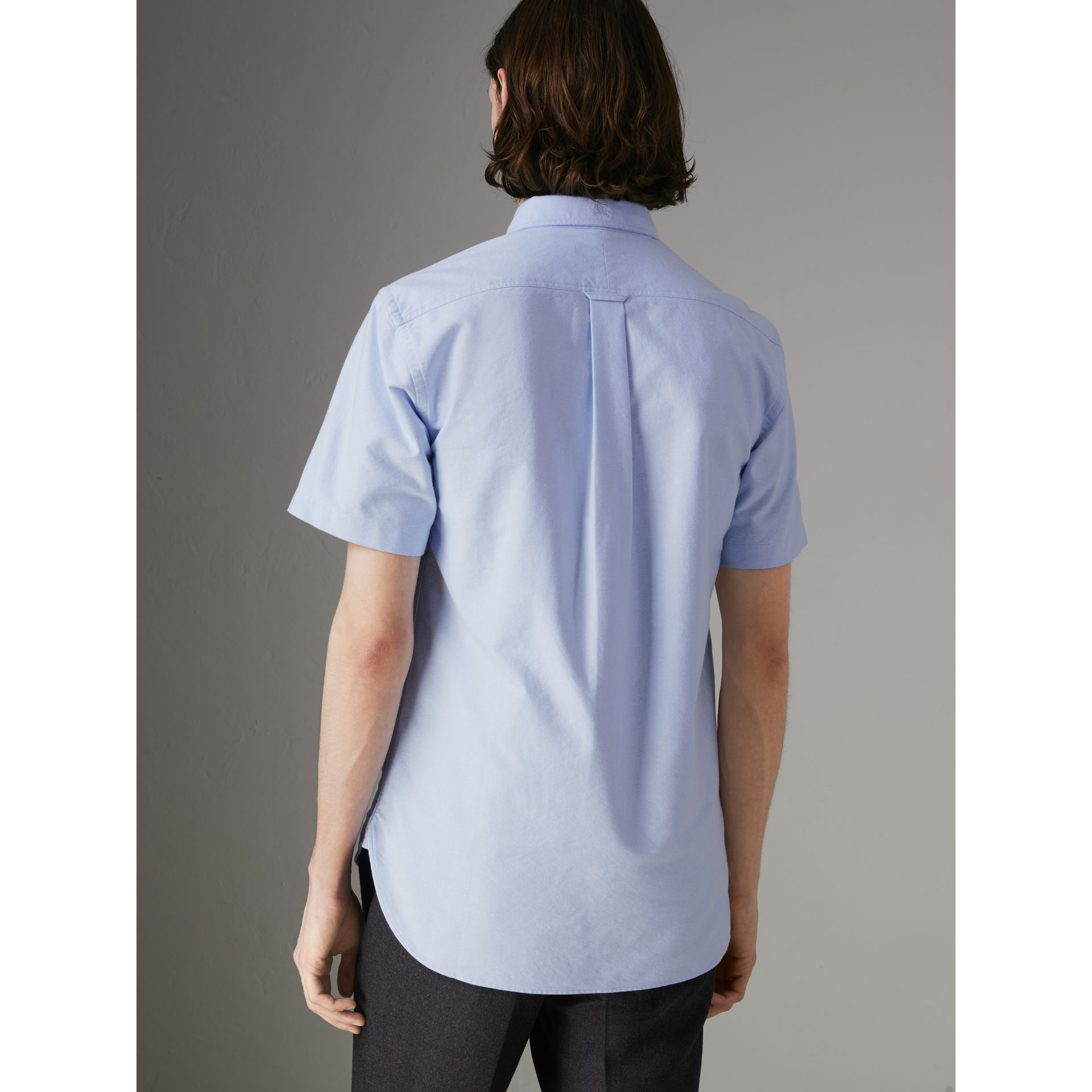 Short-sleeve Cotton Oxford Shirt in Cornflower Blue - Men | Burberry - gallery image 2