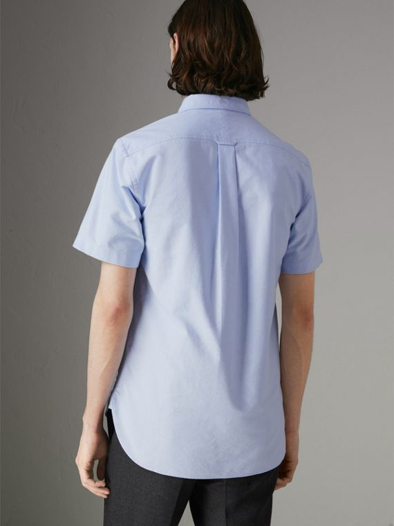 Short-sleeve Cotton Oxford Shirt in Cornflower Blue - Men | Burberry - cell image 2