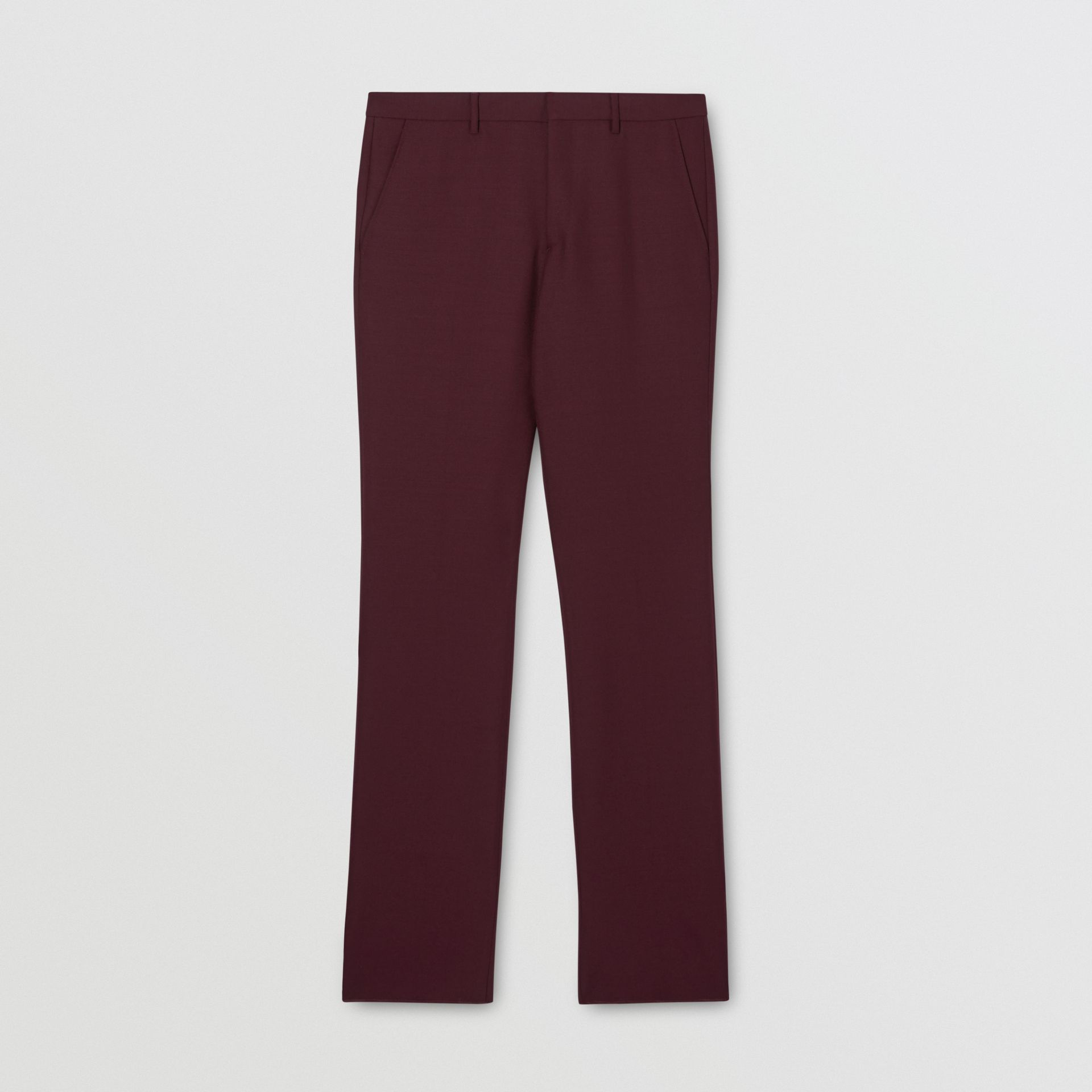 Classic Fit Wool Mohair Tailored Trousers in Deep Burgundy - Men | Burberry - gallery image 3