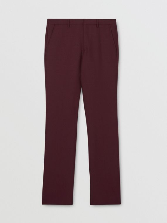 Classic Fit Wool Mohair Tailored Trousers in Deep Burgundy