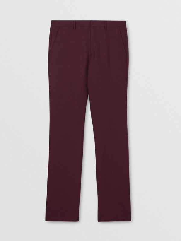 Classic Fit Wool Mohair Tailored Trousers in Deep Burgundy - Men | Burberry - cell image 3