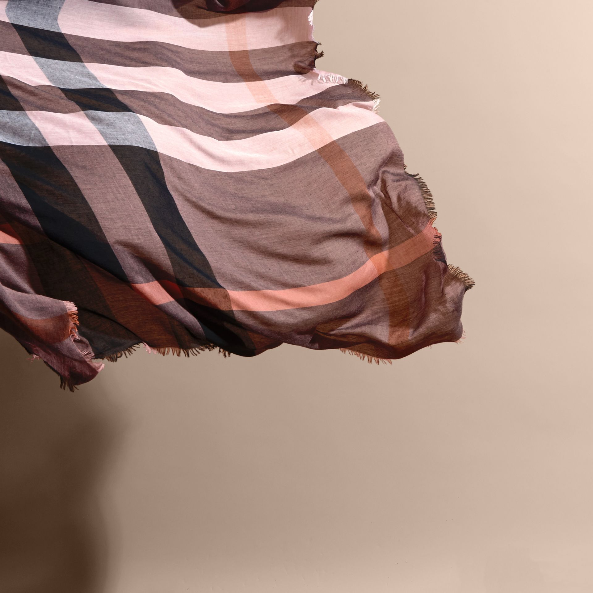 Check Modal and Wool Square Scarf in Antique Rose - Women | Burberry - gallery image 4