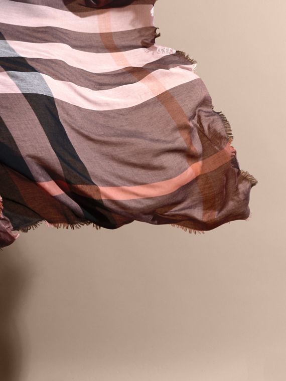 Check Modal and Wool Square Scarf in Antique Rose - Women | Burberry - cell image 3