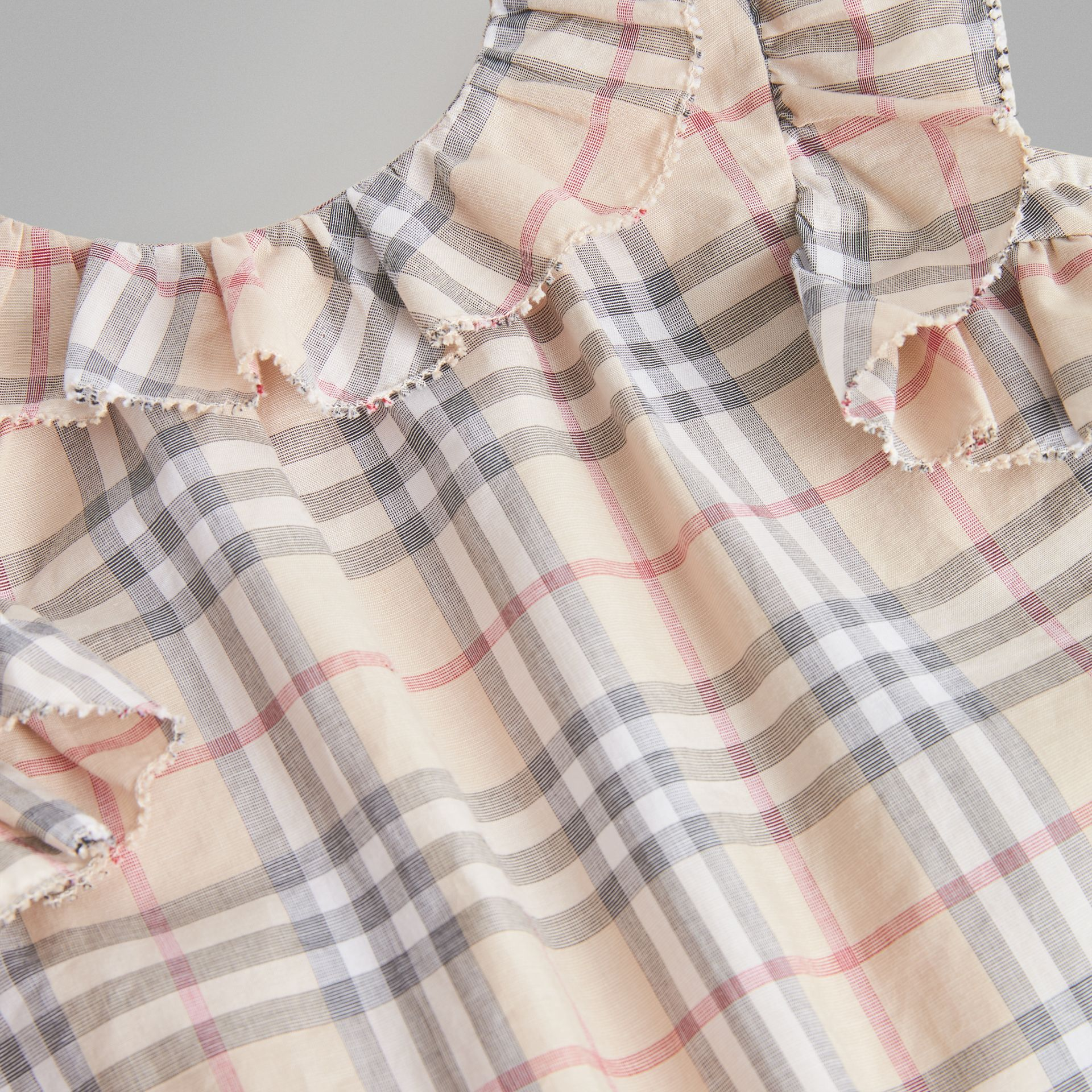 Ruffle Detail Check Cotton Dress with Bloomers in Pale Stone - Children | Burberry - gallery image 1
