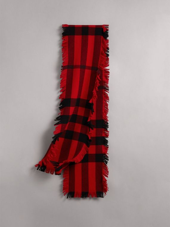 Fringed Check Wool Scarf in Military Red | Burberry