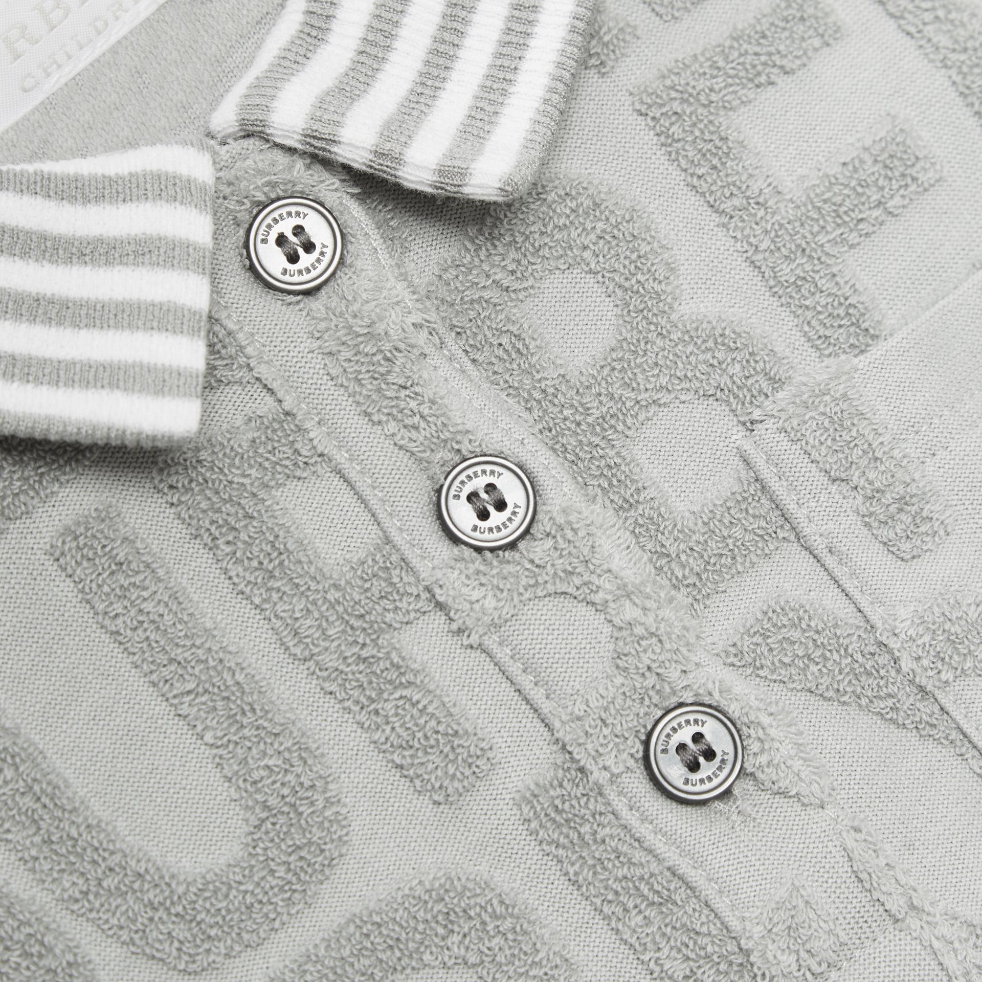 Logo Towelling Polo Dress in Pale Grey - Children | Burberry - gallery image 1