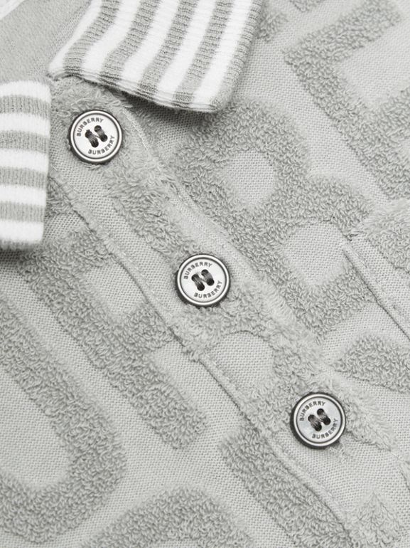 Logo Towelling Polo Dress in Pale Grey - Children | Burberry - cell image 1