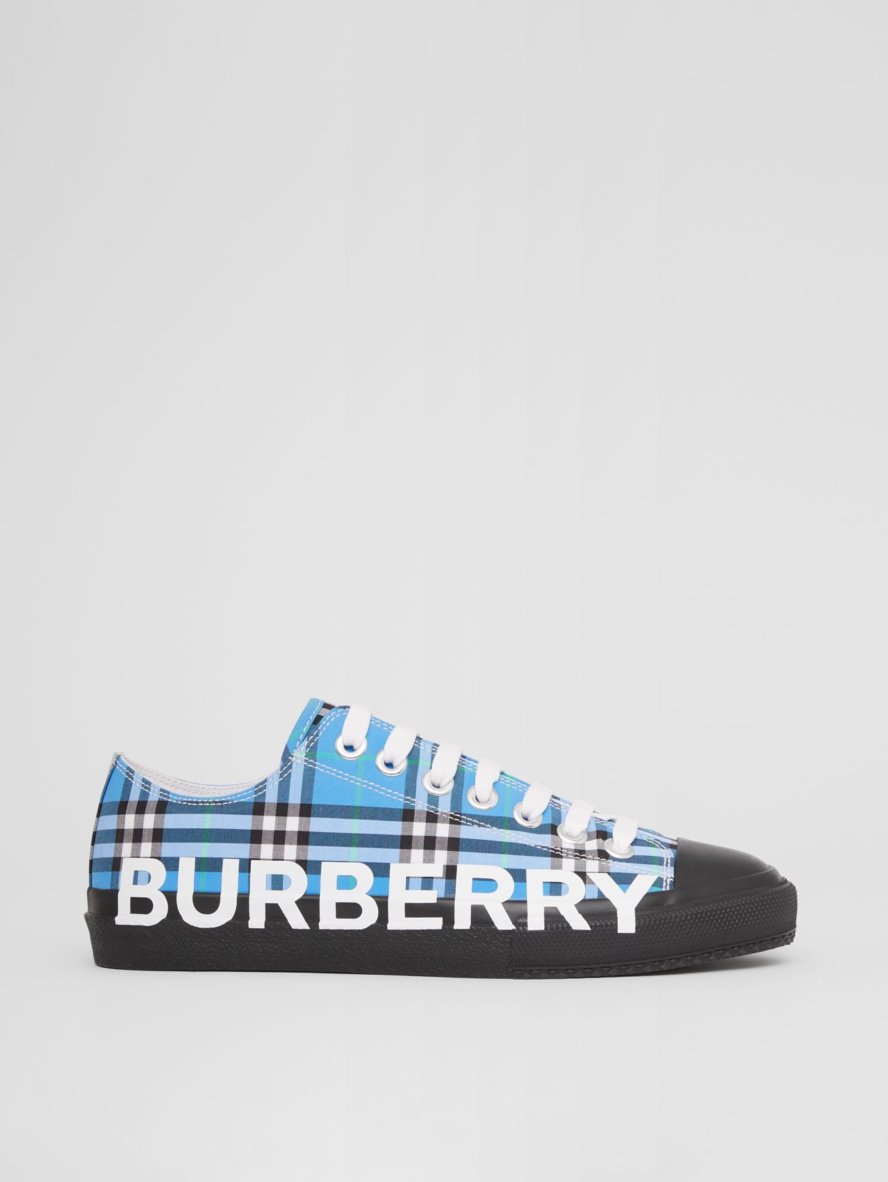 Logo Print Check Cotton Sneakers in Blue Azure