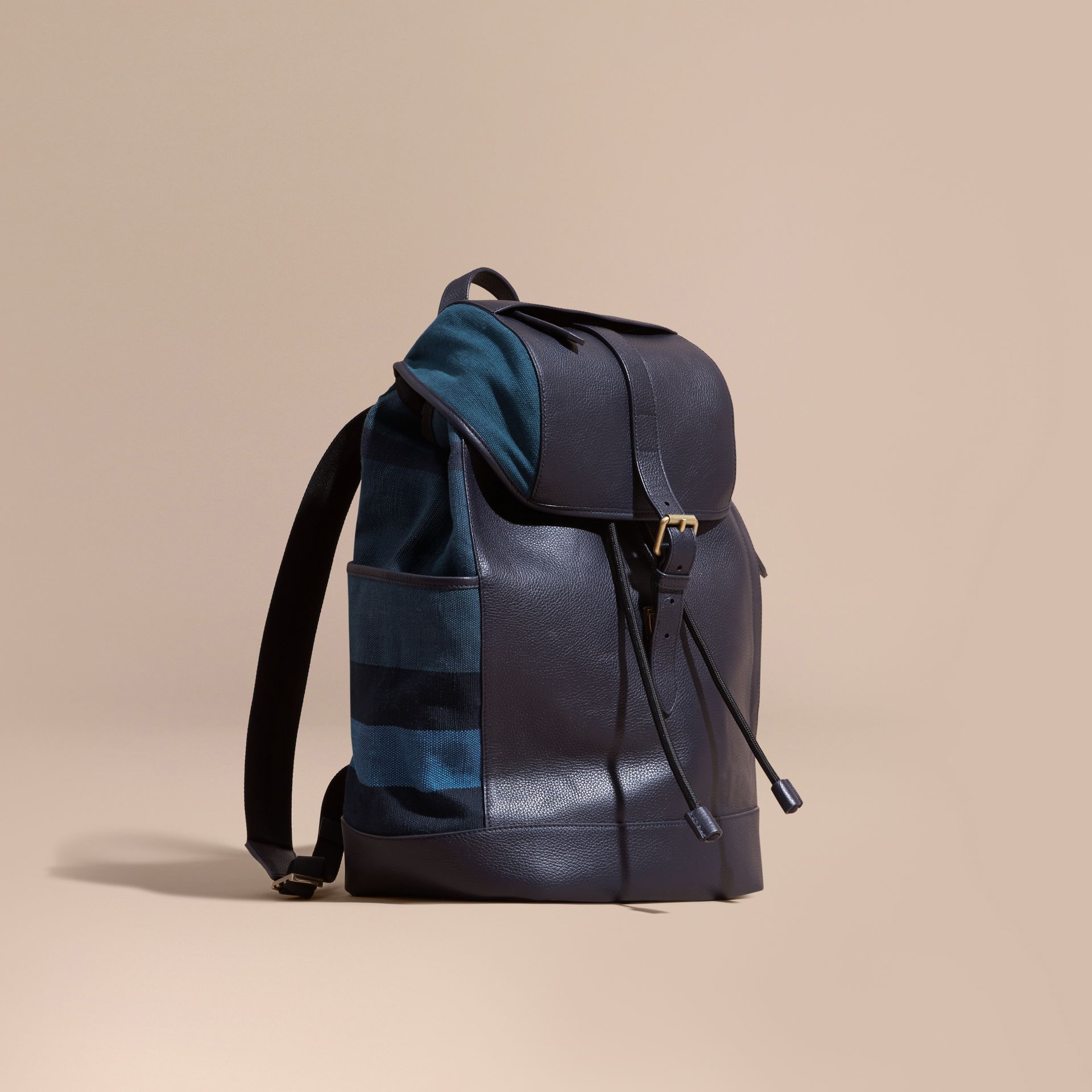 Ultramarine blue Leather and Overdyed Canvas Check Backpack - gallery image 1