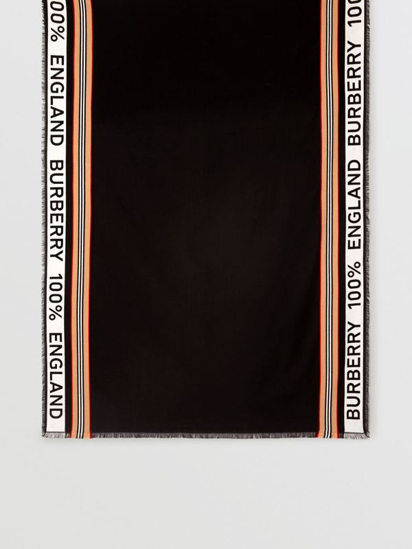 Icon Stripe Logo Detail Cotton Scarf in Black | Burberry - cell image 3