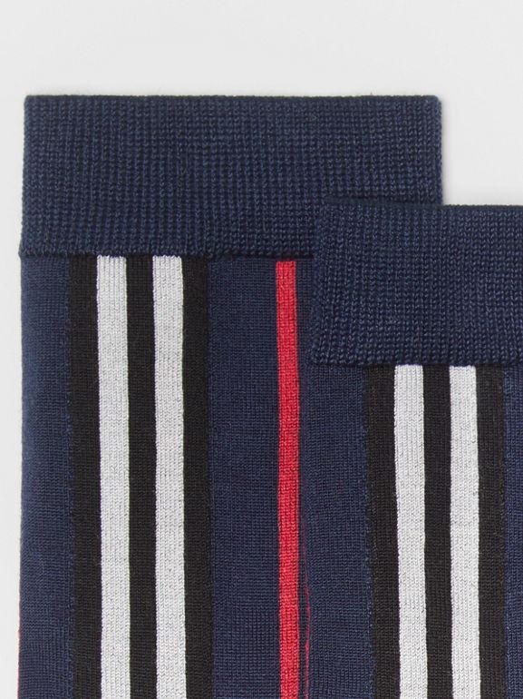 Icon Stripe Intarsia Ankle Socks in Navy | Burberry - cell image 1