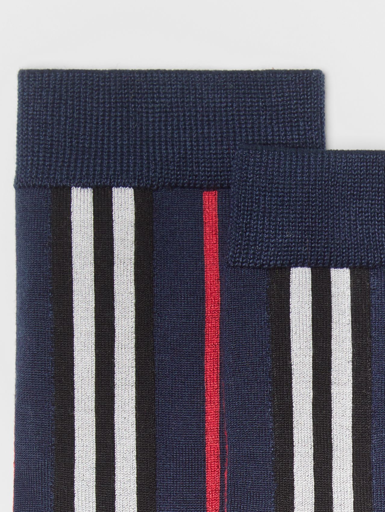 Icon Stripe Intarsia Ankle Socks in Navy