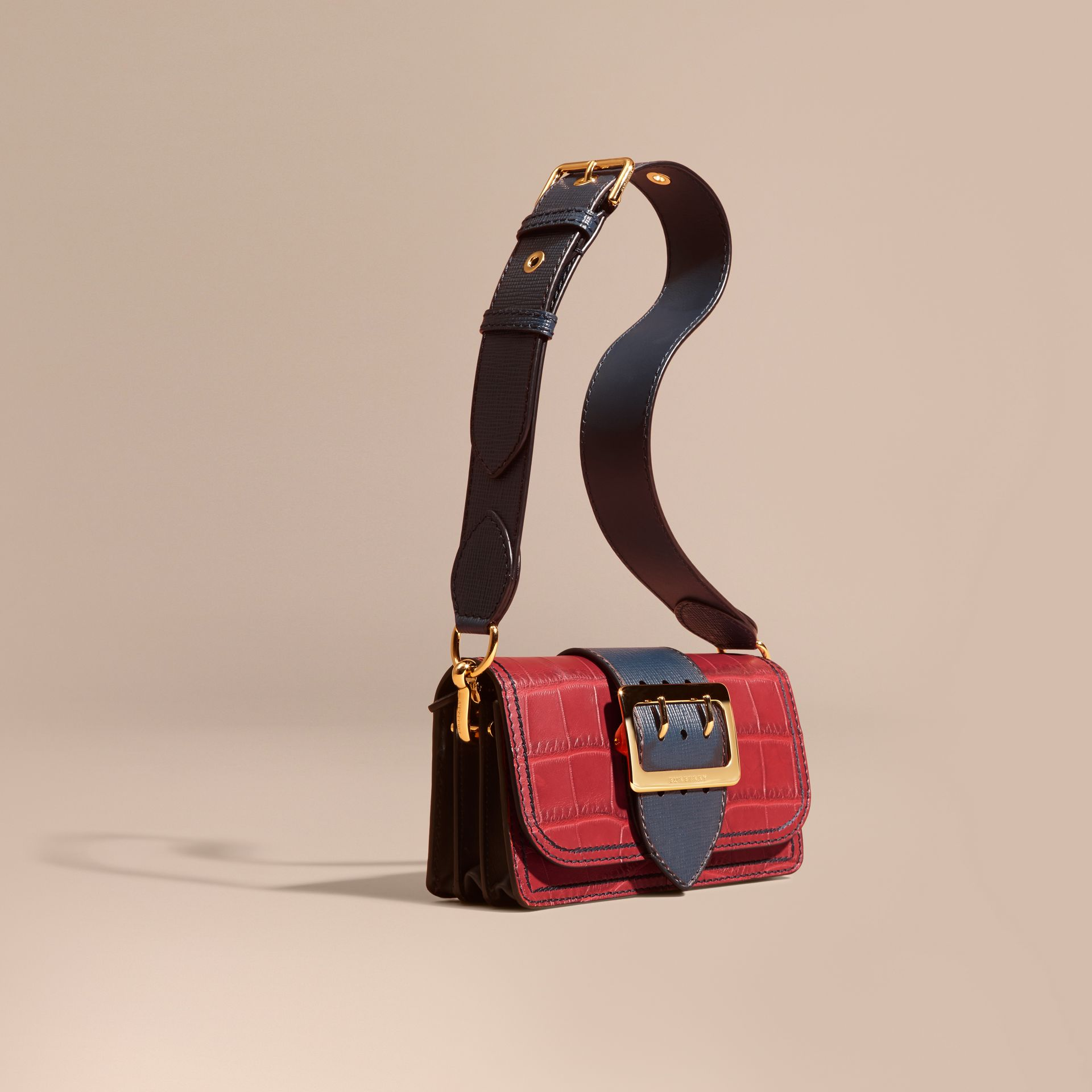 The Small Buckle Bag in Alligator and Leather Garnet Red/sapphire - gallery image 1