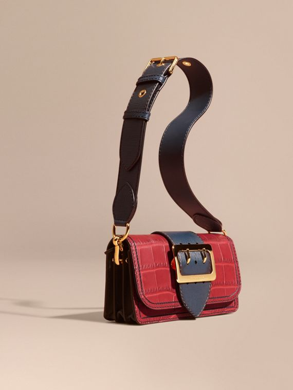 The Small Buckle Bag in Alligator and Leather Garnet Red/sapphire