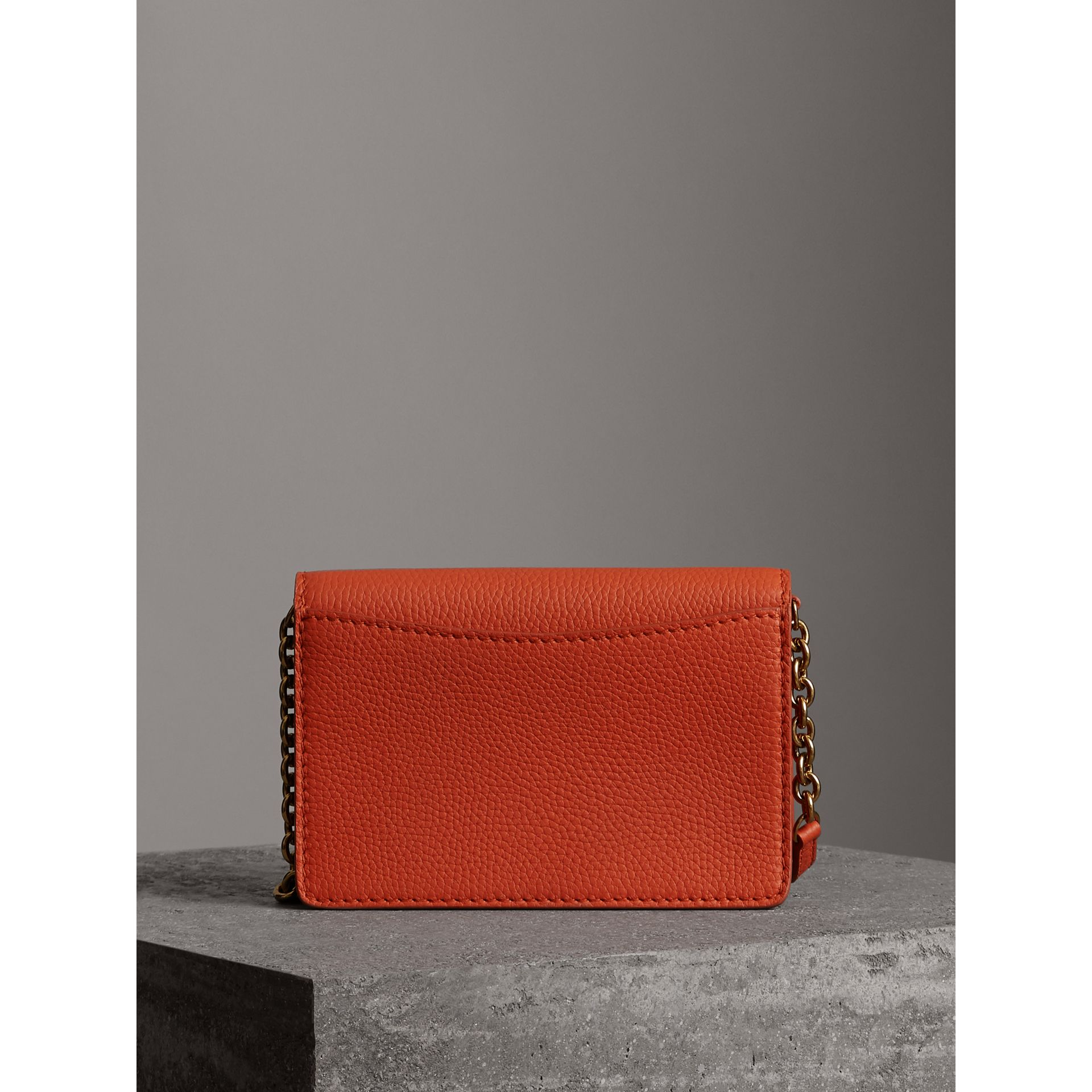 Embossed Leather Wallet with Detachable Strap in Dark Clementine - Women | Burberry - gallery image 6