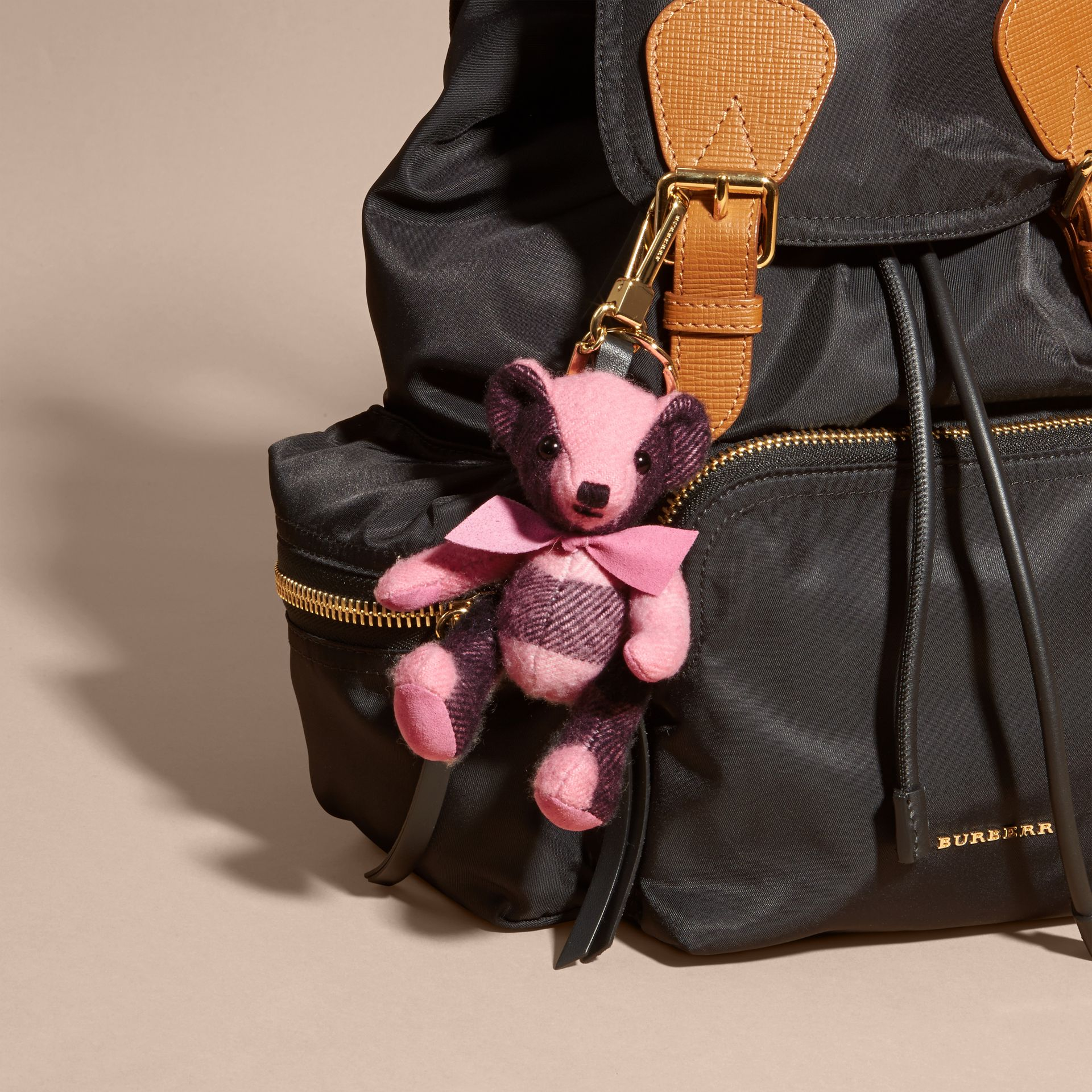 Thomas Bear Charm in Check Cashmere in Rose Pink - Women | Burberry - gallery image 3