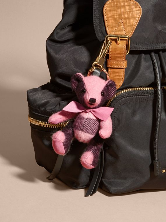 Thomas Bear Charm in Check Cashmere in Rose Pink - cell image 2
