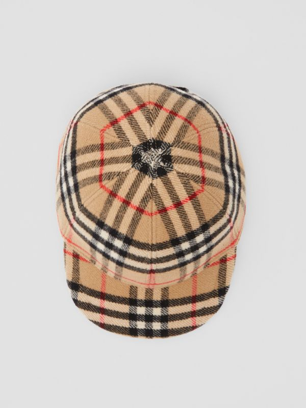 Vintage Check Wool Baseball Cap in Archive Beige - Children | Burberry Hong Kong S.A.R - cell image 2