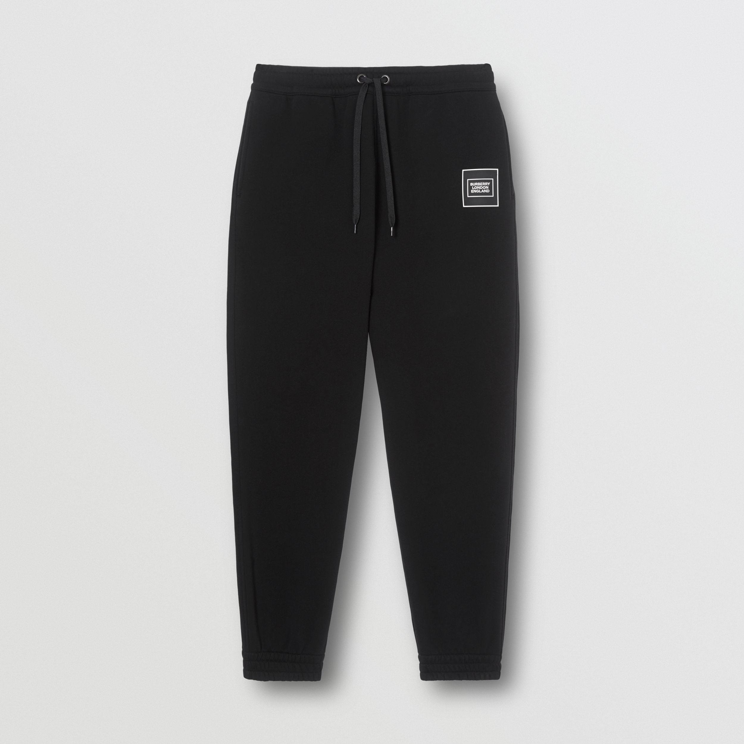 Logo Appliqué Cotton Jogging Pants in Black - Men | Burberry - 4