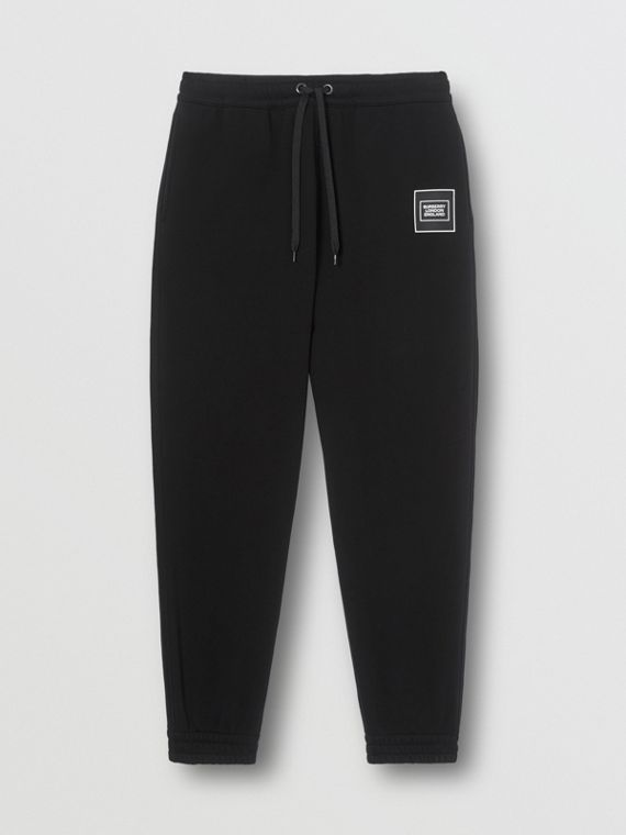 Logo Appliqué Cotton Trackpants in Black