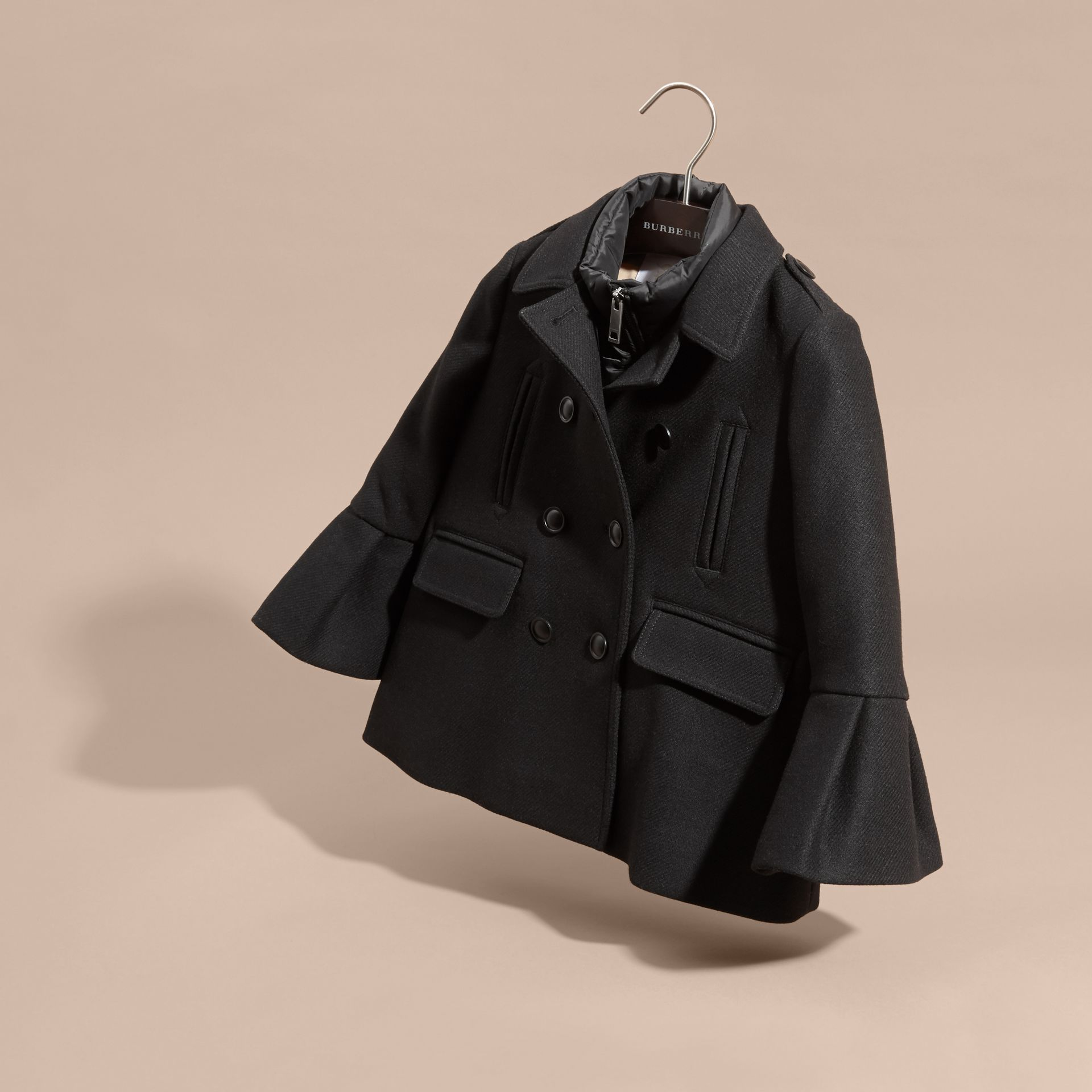 Black Wool Blend Pea Coat with Detachable Warmer - gallery image 6