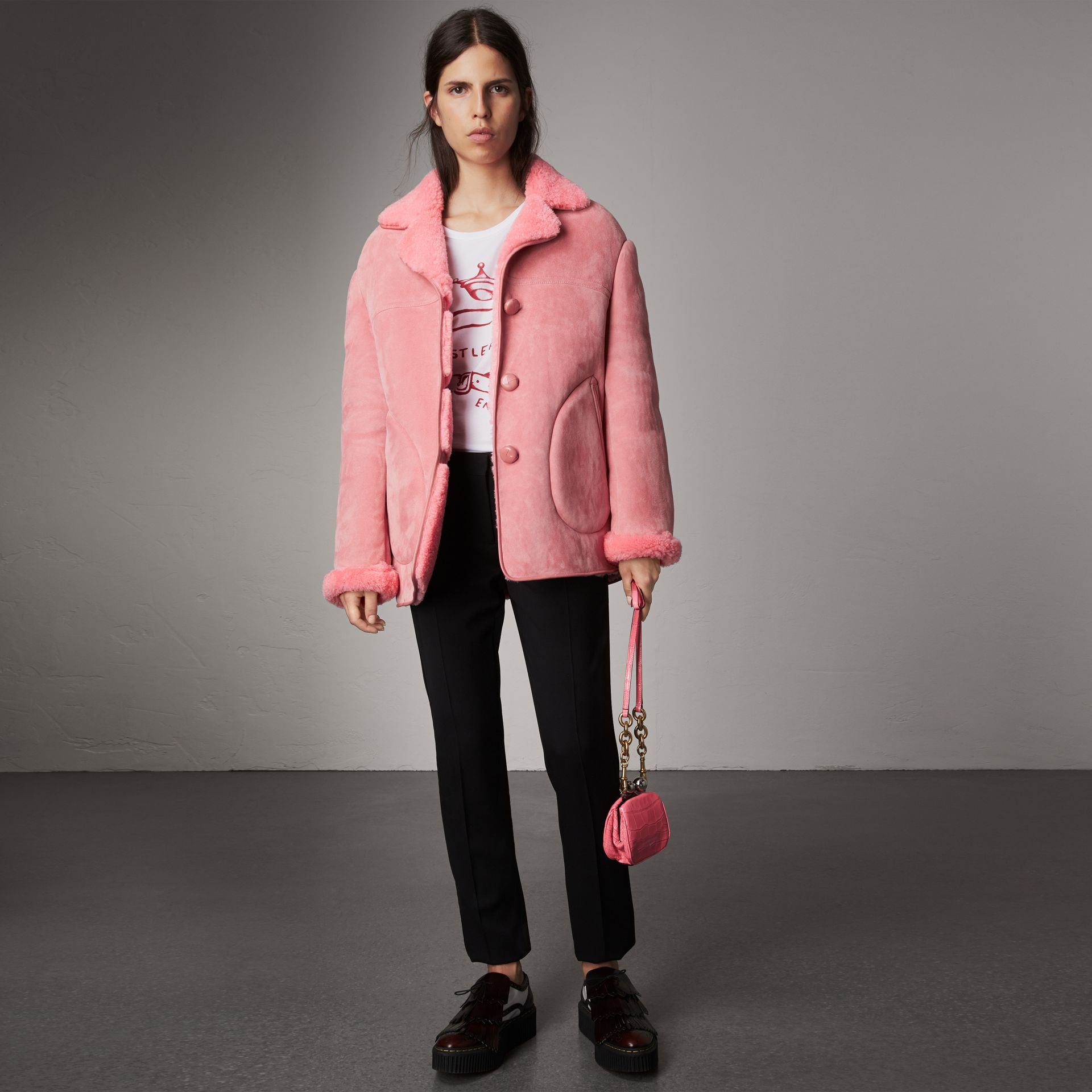 Leather Trim Shearling Oversized Jacket in Copper Pink - Women | Burberry United Kingdom - gallery image 0