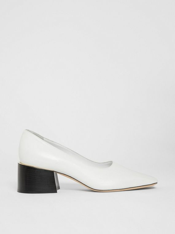 Gold-plated Detail Lambskin Block-heel Pumps in White