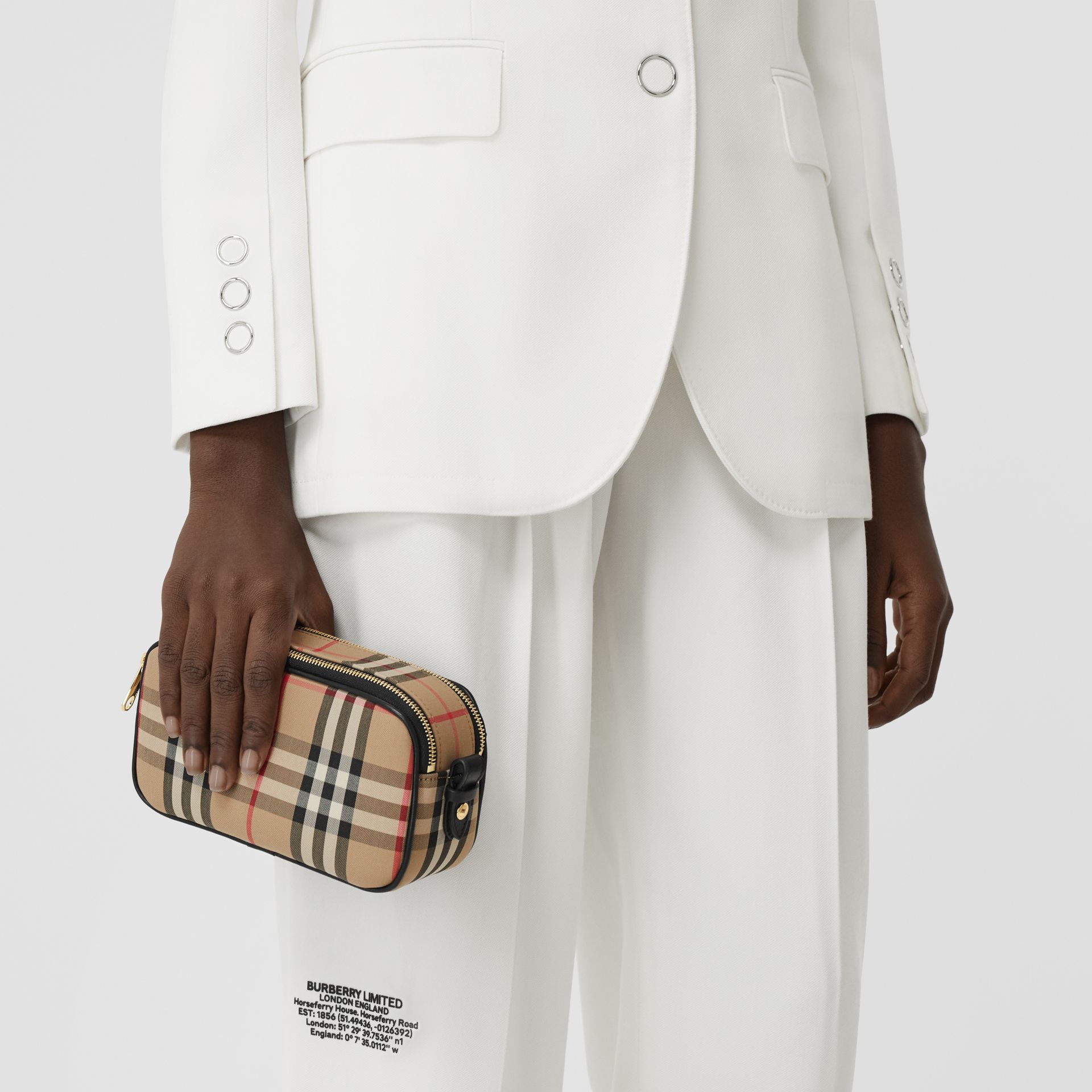 Mini Vintage Check and Leather Camera Bag in Archive Beige | Burberry United Kingdom - gallery image 10