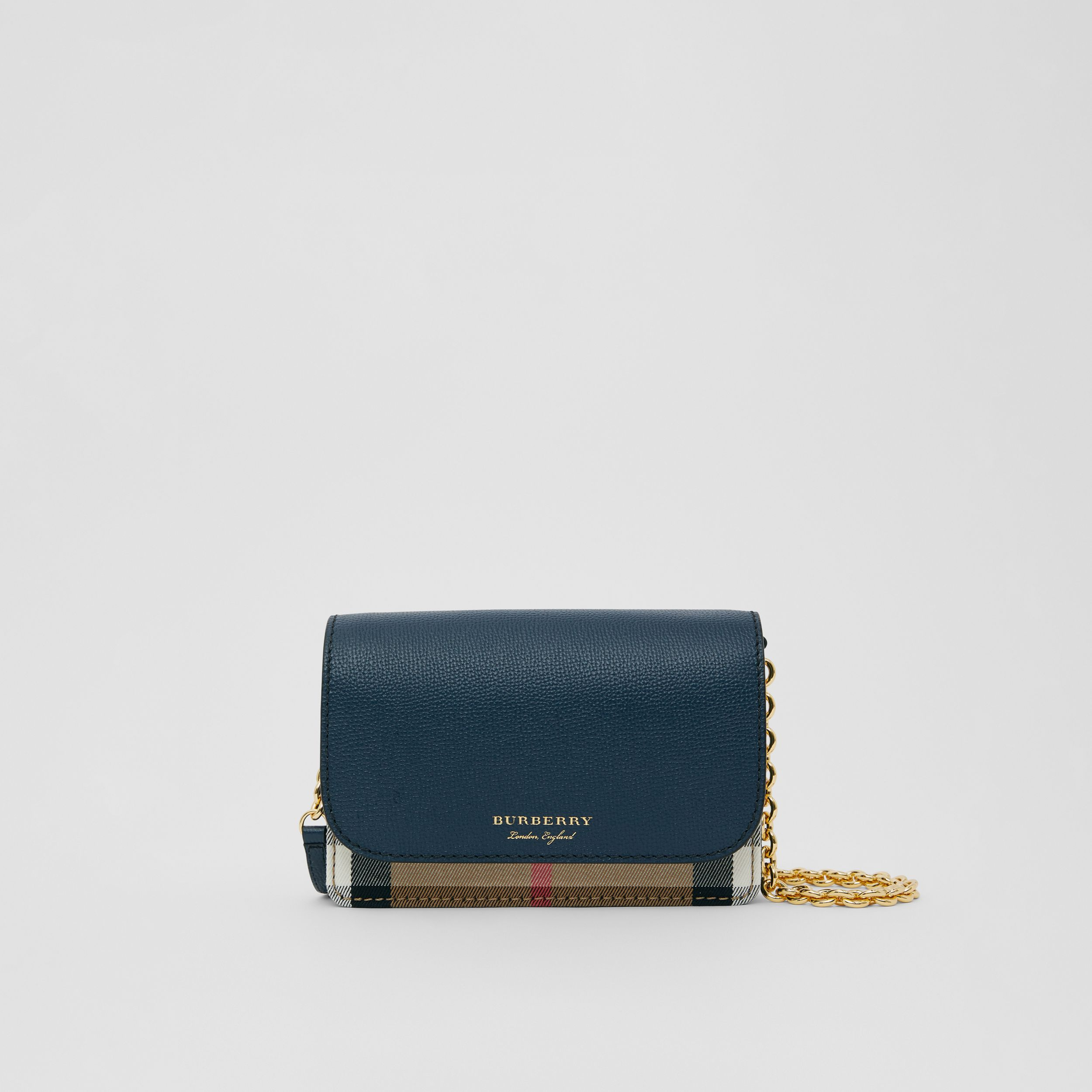 Small Leather and House Check Crossbody Bag in Ink Blue - Women | Burberry - 1