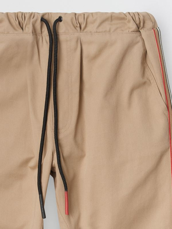 Icon Stripe Detail Cotton Chinos in Honey | Burberry - cell image 2
