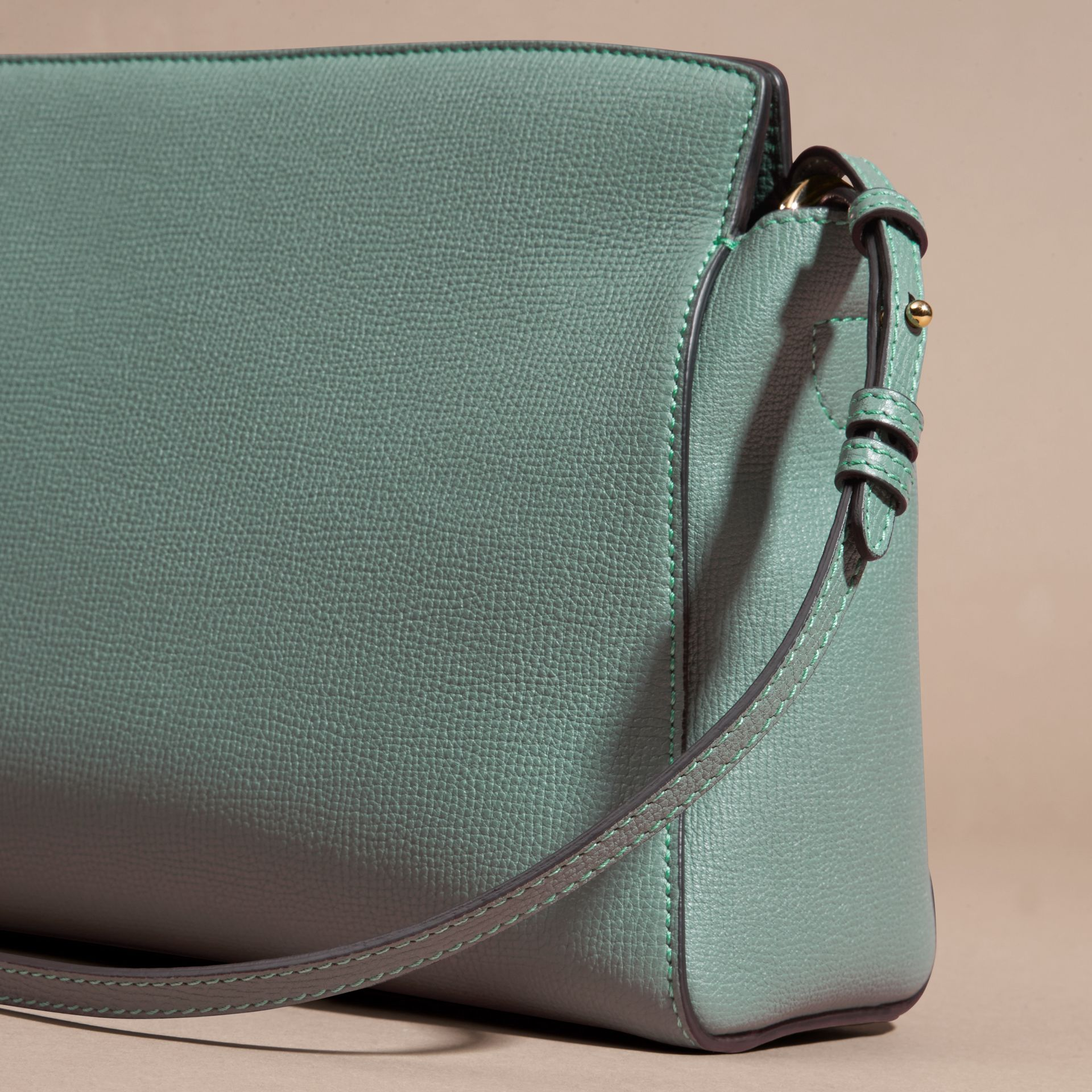 Smokey green The Saddle Clutch in Grainy Bonded Leather Smokey Green - gallery image 4
