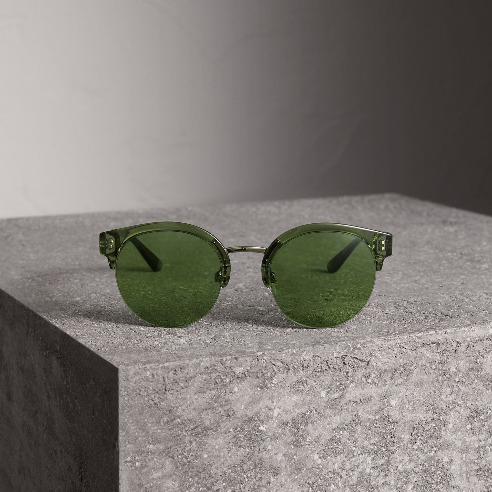 Check Detail Round Half-frame Sunglasses in Smokey Green - Women | Burberry - gallery image 3