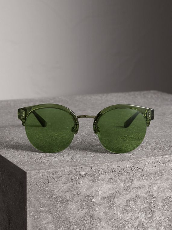 Check Detail Round Half-frame Sunglasses in Smokey Green - Women | Burberry - cell image 3