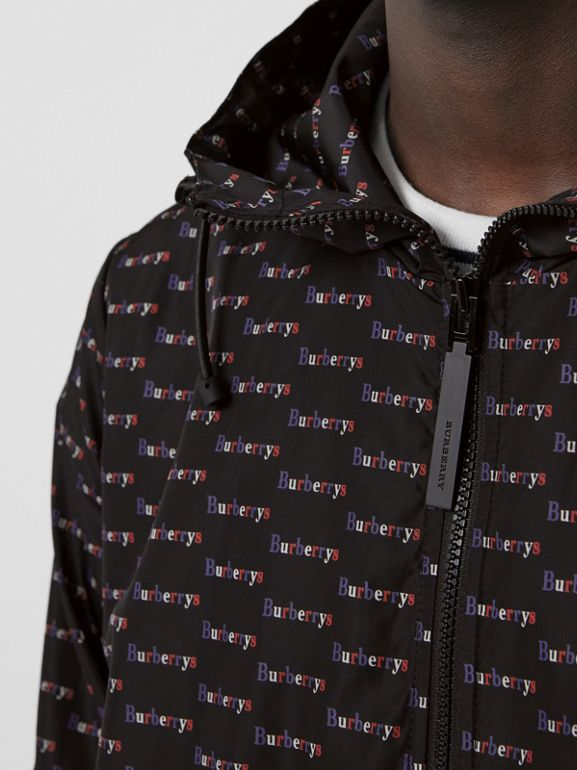 Archive Logo Print Lightweight Hooded Jacket in Black - Men | Burberry - cell image 1