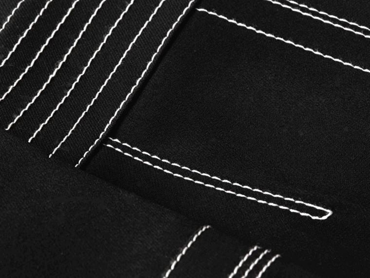 Black Regimental Wool Silk Shift Dress - cell image 1