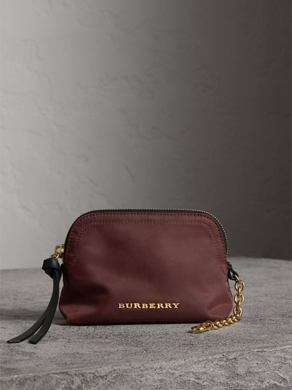 Small Zip-top Technical Nylon Pouch in Burgundy Red - Women | Burberry
