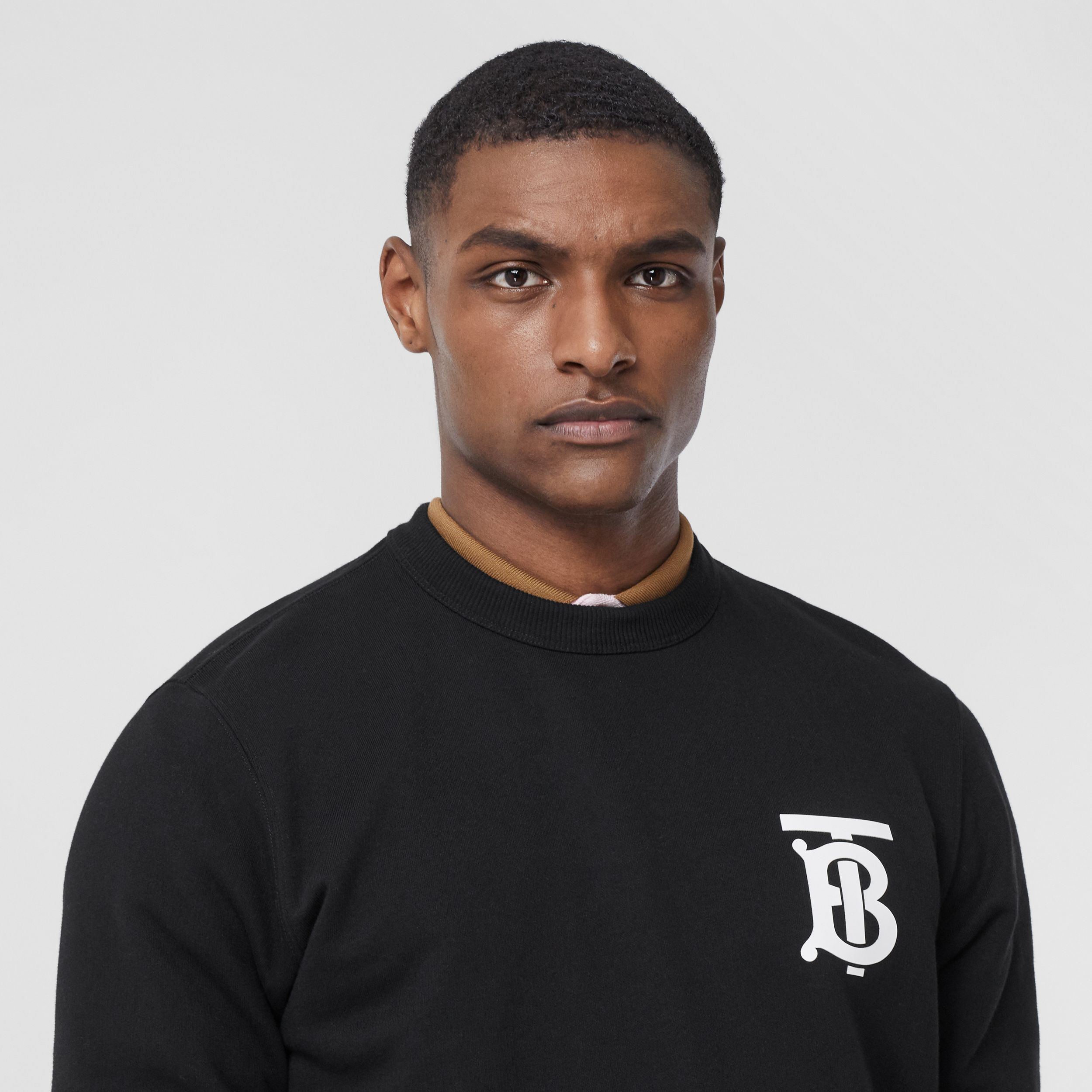 Monogram Motif Cotton Sweatshirt in Black - Men | Burberry Hong Kong S.A.R. - 3