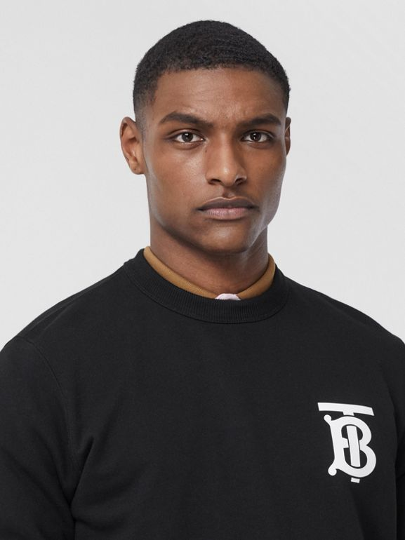 Monogram Motif Cotton Sweatshirt in Black - Men | Burberry - cell image 1