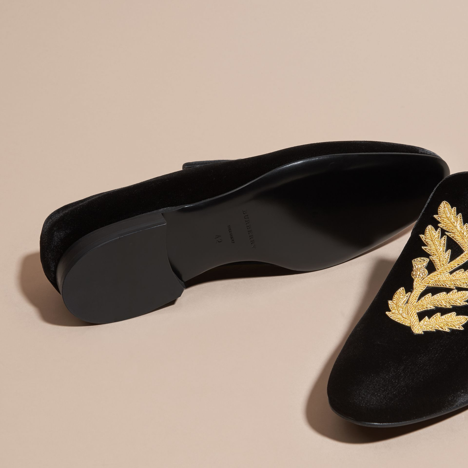 Black Embroidered Velvet Loafers - gallery image 5